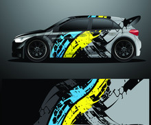 Rally Car Decal Graphic Wrap V...
