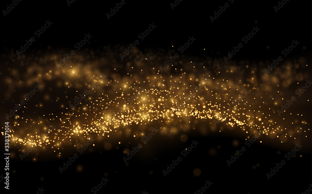 Fototapeta Gold light shine particles on black background