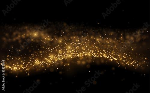 Obraz Gold light shine particles on black background - fototapety do salonu