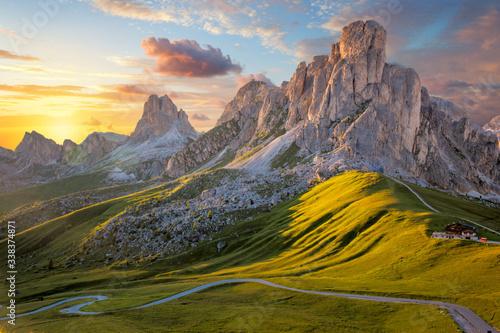 Fototapety, obrazy: Amazing sunset landscape, alpine pass and high mountains
