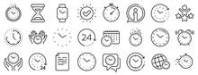 Timer, Alarm And Smartwatch. Time And Clock Line Icons. Time Management, 24 Hour Clock, Deadline Alarm Icons. Sand Hourglass, Calendar And Digital Smartwatch, Timer Stopwatch. Vector
