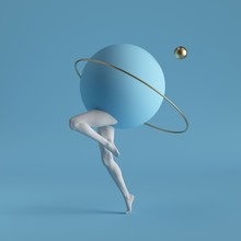 3d Render, Abstract Surreal Contemporary Art. Primitive Geometric Shapes: Golden Ring, Ball, White Dancing Legs Isolated On Blue Background. Modern Fashion Design, Visual Illusion, Funny Freak Show