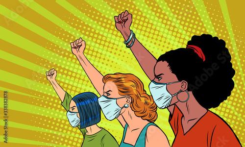 Photographie African Asian Caucasian women protest coronavirus epidemic