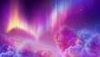 Leinwandbild Motiv digital illustration of Aurora Borealis, abstract background. Northern lights in polar night sky, cotton clouds, natural phenomenon, geomagnetic miracle, wonder of nature, ultraviolet neon lines