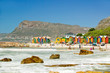 canvas print picture - Bright Crayon-Colored Beach Huts at St James, False Bay on Indian Ocean, outside of Cape Town, South Africa