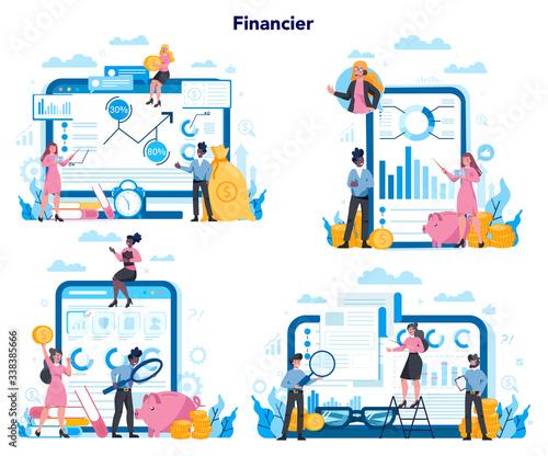 Financial advisor or financier platform on differernt device concept set Wallpaper Mural