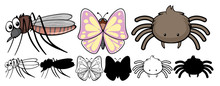 Set Of Simple Insect Cartoon