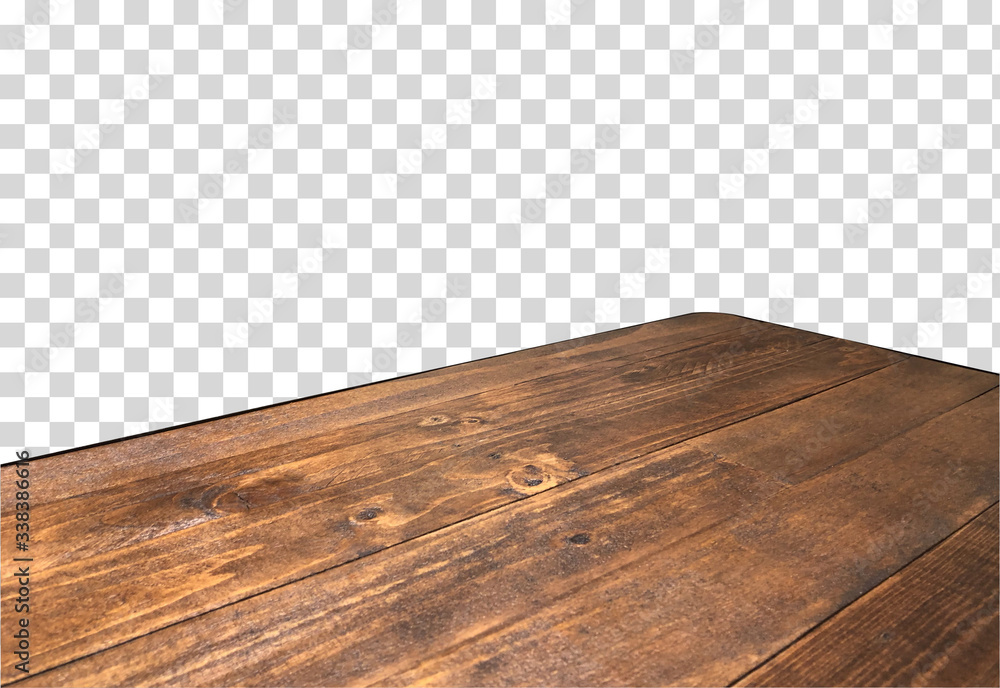 Fototapeta Perspective view of wood or wooden table top corner on isolated transparent background including clipping path, template mock up for display products.