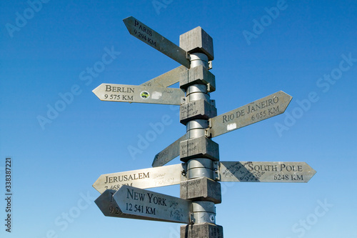 Photo Signs point with mileage totals to Berlin, Jerusalem, New York, South Pole, Pari