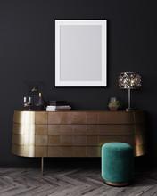 Mockup Poster Frame In Black Interior Background, Luxury Modern Dark Living Room Interior, 3D Rendering
