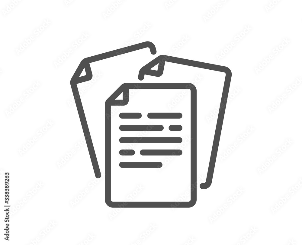 Fototapeta Documents line icon. Doc file page sign. Office note symbol. Quality design element. Editable stroke. Linear style documents icon. Vector