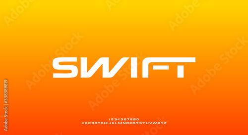 Vászonkép Swift, a bold modern sporty typography alphabet font