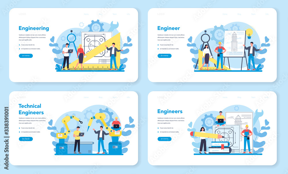 Fototapeta Engineeering web banner or landing page set. Technology and science.