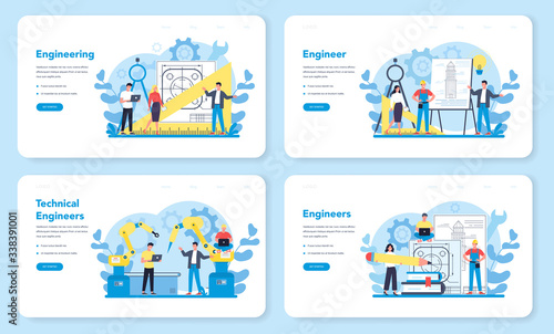 Obraz Engineeering web banner or landing page set. Technology and science. - fototapety do salonu