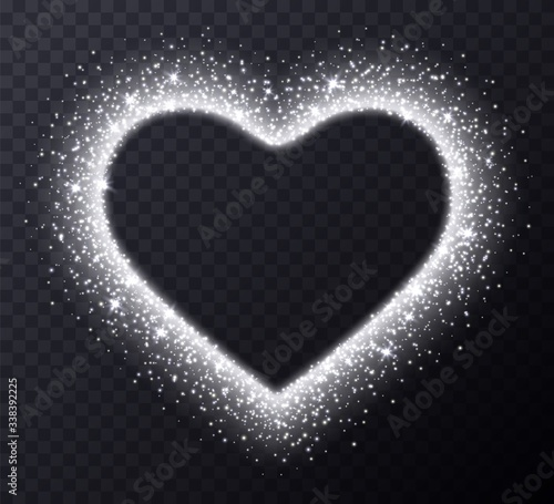 Photo Silver heart frame with sparkles and flares, abstract luminous particles, white stardust light effect isolated on a dark background