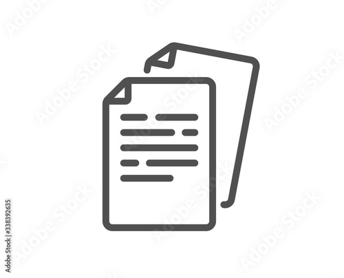 Fototapety, obrazy: Documents line icon. Doc file page sign. Office note symbol. Quality design element. Editable stroke. Linear style documents icon. Vector