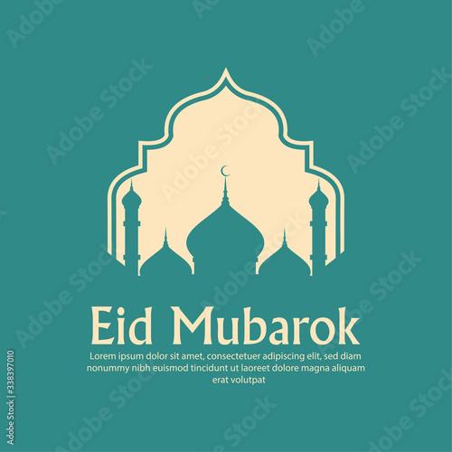 Beautiful eid mubarak with mosque background design vector Canvas Print