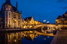 Ghent, Flemish Region / Belgium - April 24 2012 : St Michael's Bridge And Old Post Office At Night In Ghent, Belgium