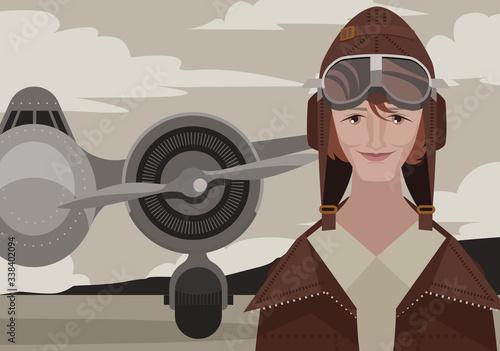amelia earhart first female aviator Wallpaper Mural