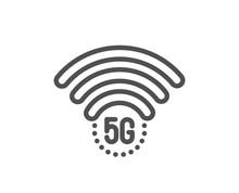 5g Wi-fi Technology Line Icon....