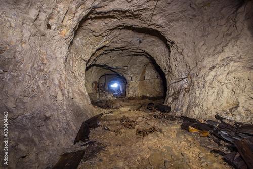 Photo Underground abandoned bauxite mine tunnel