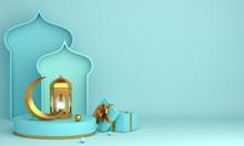 Islamic Product Display Mock Up On Blue Pastel Background. Podium, Crescent Moon, Lantern, Gift Box. Ramadan, Eid Fitr Adha, Mawlid Concept, 3D Rendering Illustration.