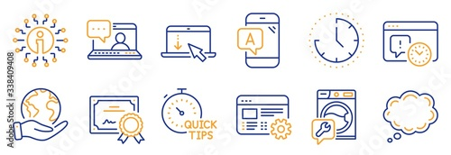 Photo Set of Technology icons, such as Washing machine, Comic message