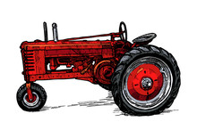 Vector Drawing Of Tractor Styl...