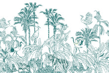 Seamless Border Animals In Tropical Forest With Banana Palms Blue On White Background, Lithography Jungle Wallpaper Mural, Wildlife High End Back Drop Heron, Crane, Tiger, Leopard In Exotic Plants
