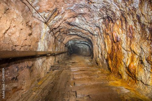 Underground abandoned bauxite ore mine tunnel Canvas Print