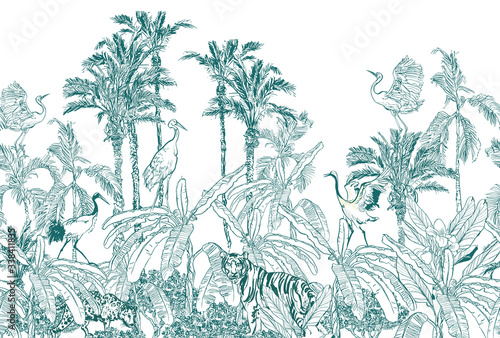 Cuadros en Lienzo Seamless Border Animals in Tropical Forest with Banana Palms Blue on White backg