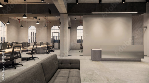 Fototapeta Interior Empty Modern Loft Office open space modern office footage