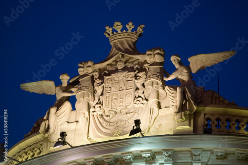 Photo Detail shot of faade of building at twilight in Madrid, Spain