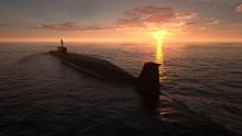 Heavy Atomic Submarine In Ocean At Sunset