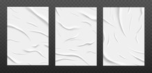White Glued Paper Texture, Wet Wrinkled Paper Sheets Set. Posters With Crumpled And Creased Wrinkles Isolated On A Dark Background. Vector Illustration. A4 Format.