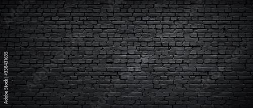 Texture of a black painted brick wall as a background or wallpaper Canvas