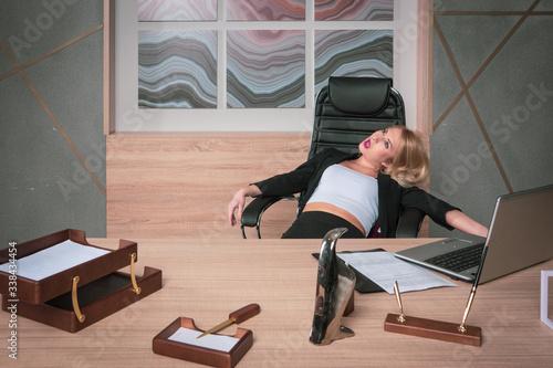 Obraz Crime scene with strangled pretty business woman in office.. - fototapety do salonu