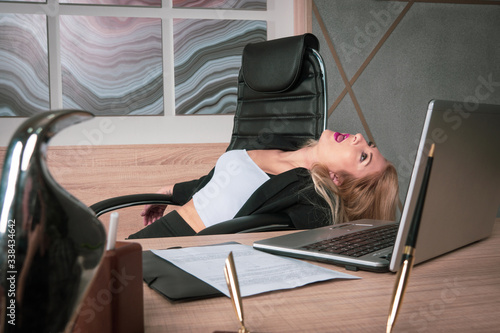 Crime scene with strangled pretty business woman in office.. Canvas-taulu