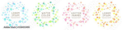 Fotomural colorful watercolor vector dot frames