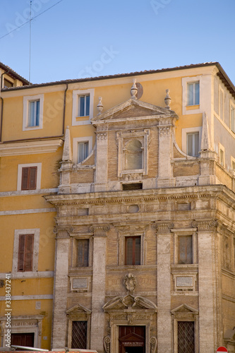 Roman columns as part of building faade, Rome, Italy, Europe Canvas Print