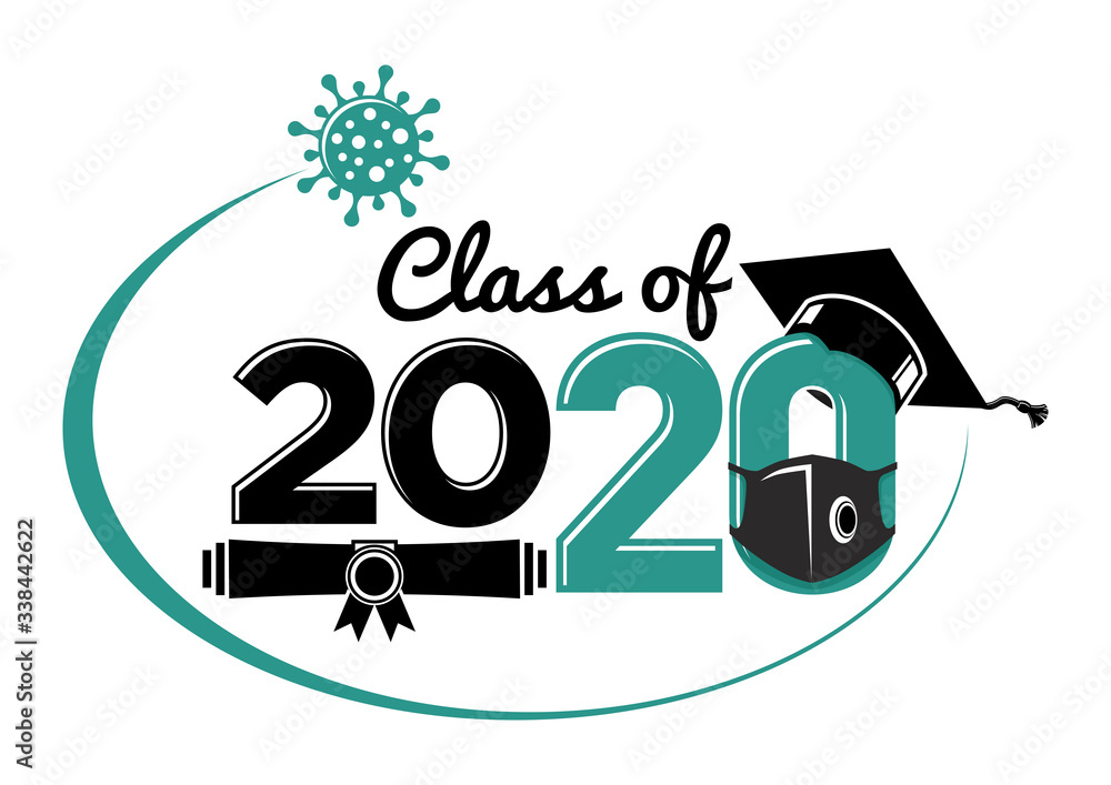 Fototapeta Class of 2020 during quarantine - lettering for greeting, invitation card. Text for graduation design, greetings, t-shirts, party, high school or college graduates. Illustration, vector