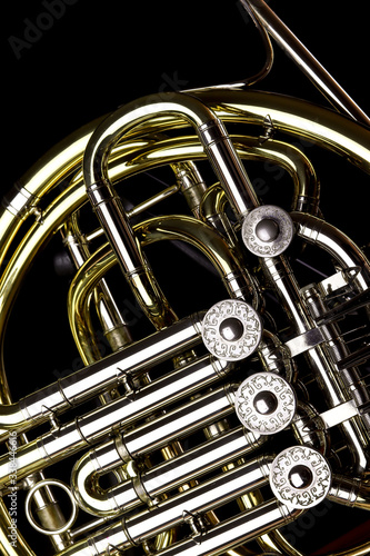 Tela Close-up Of French Horn Over Black Background