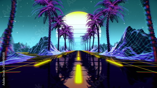 Fototapeta 80s retro futuristic sci-fi background. Retrowave VJ videogame landscape with neon lights and low poly terrain grid. Stylized vintage cyberpunk vaporwave 3D render with mountains, sun and stars. 4K obraz na płótnie