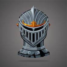 Antique Knight Helmet. Cartoon Vector Illustration. Vector Asset. Battle Equipment.