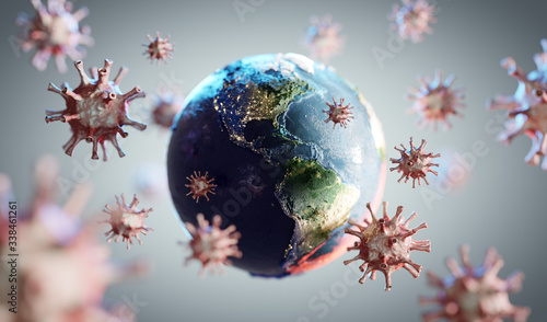 Obraz Coronavirus COVID-19 attacking world, earth. News about corona virus - fototapety do salonu