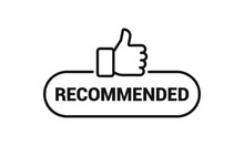 Recommended Icon. Good, Best Or Great Choice. Vector Line Banner With Text And Thumb Up