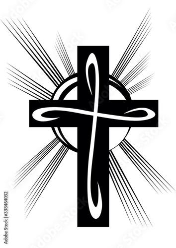 Fotografia stylized cross in black on a white background, vector illustration,