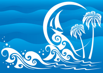 Fototapeta na wymiar Stylized resort landscape with a sea sailing boat and a beach with palm trees in blue, vector illustration,