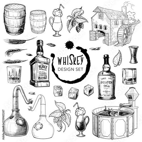 Whiskey related design elements set Fototapete
