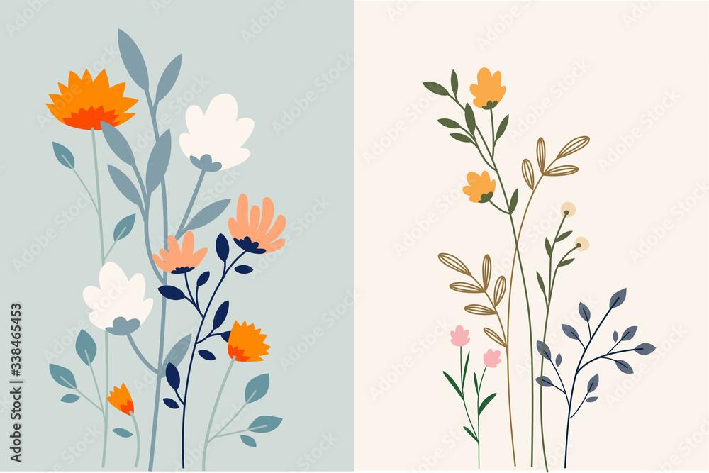 Fototapeta Set of floral background. Vector illustration for graphic and web design, marketing material, social media, presentation template, seasonal greeting cards.
